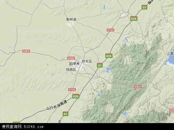 中国吉林省四平市铁东区地图(卫星地图)