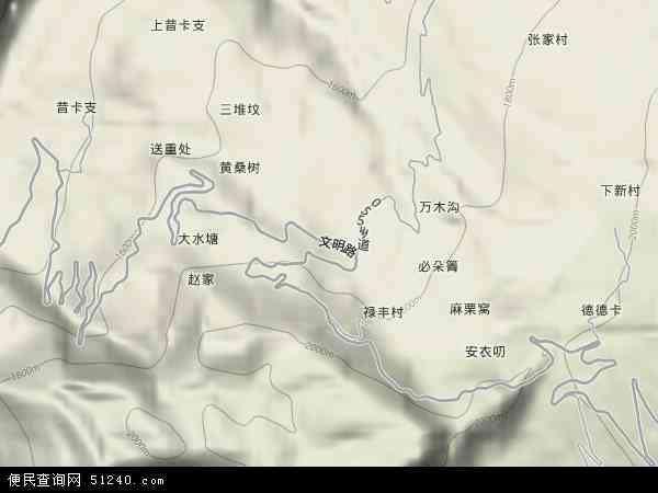 中国云南省楚雄彝族自治州武定县田心乡地图(卫星地图)图片