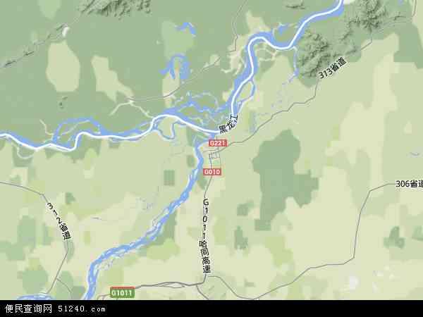中国黑龙江省佳木斯市同江市地图(卫星地图)