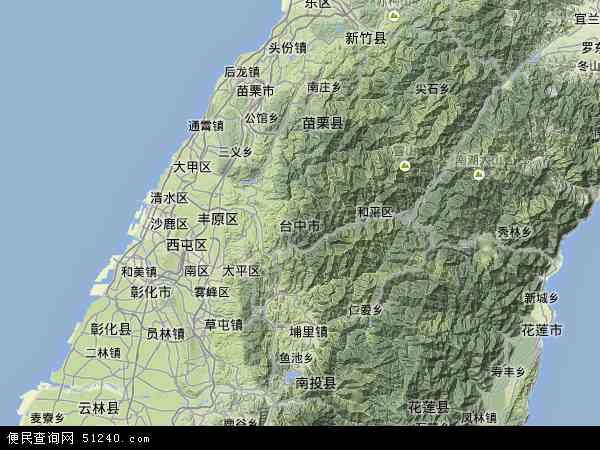 中国台湾台中县地图(卫星地图)