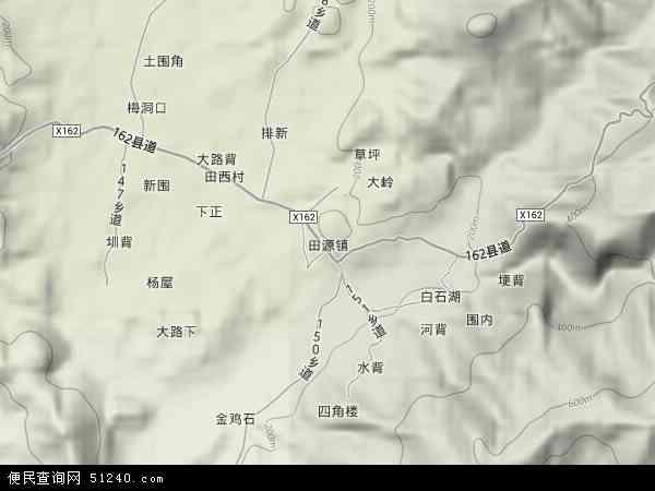 中国广东省河源市连平县田源镇地图(卫星地图)