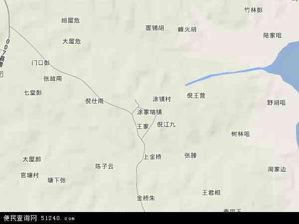 中国湖北省鄂州市梁子湖区涂家垴镇地图(卫星地图)