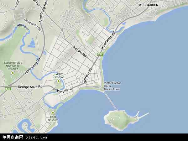 澳大利亚南澳大利亚维克托港地图(卫星地图)图片
