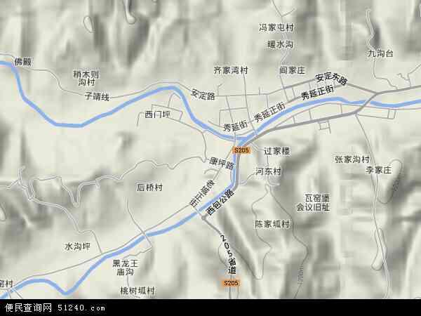 中国陕西省延安市子长县瓦窑堡镇地图(卫星地图)