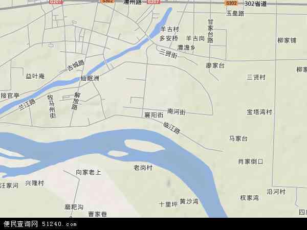 中国湖南省常德市津市市襄阳街地图(卫星地图)