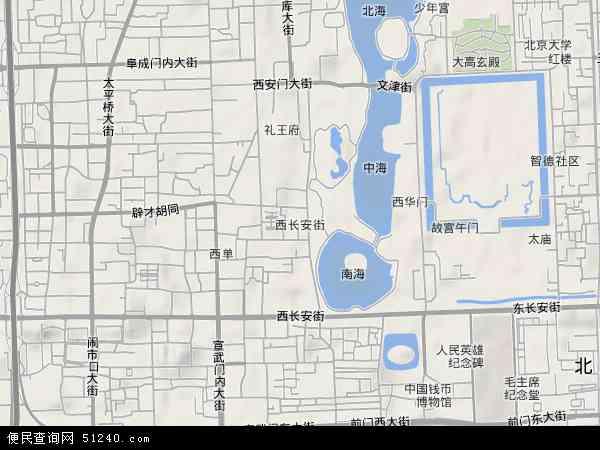 中国北京市西城区西长安街地图(卫星地图)