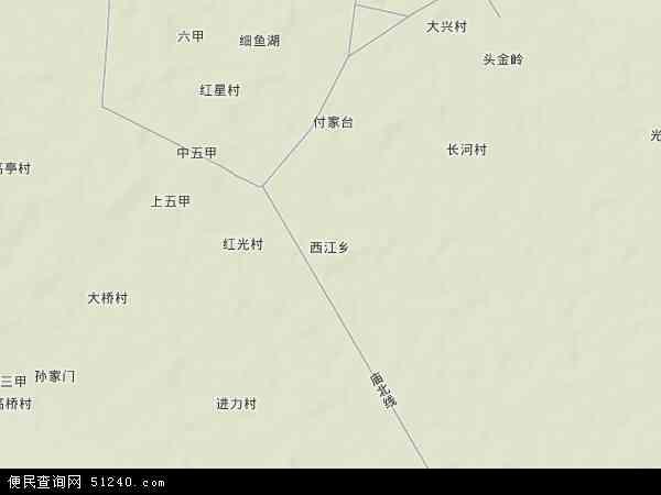 中国湖北省孝感市汉川市西江乡地图(卫星地图)