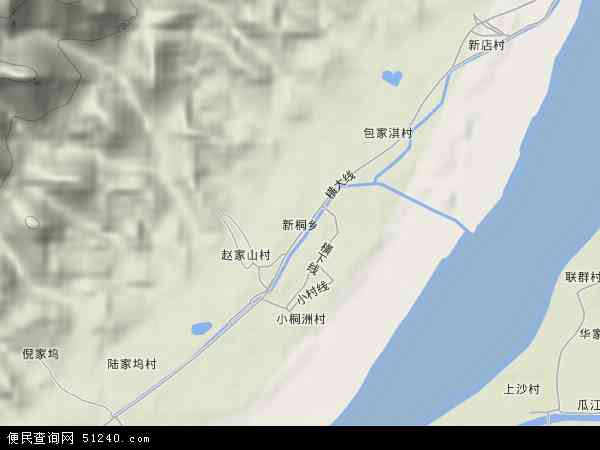 中国浙江省杭州市富阳市新桐乡地图(卫星地图)