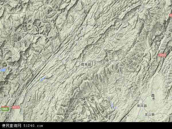 咸丰县地图 - 咸丰县卫星地图