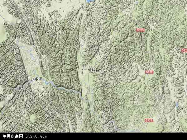 中国广西壮族自治区来宾市忻城县地图(卫星地图)