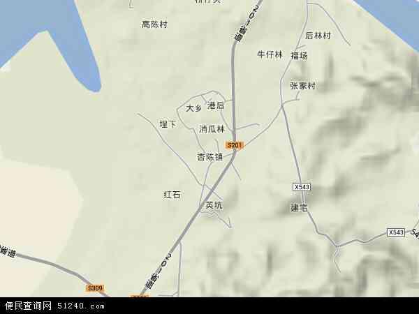 中国福建省漳州市东山县杏陈镇地图(卫星地图)