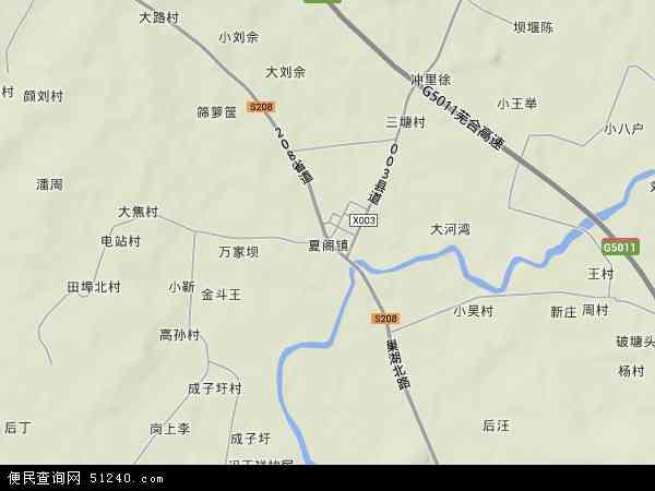 中国安徽省合肥市巢湖市夏阁镇地图(卫星地图)