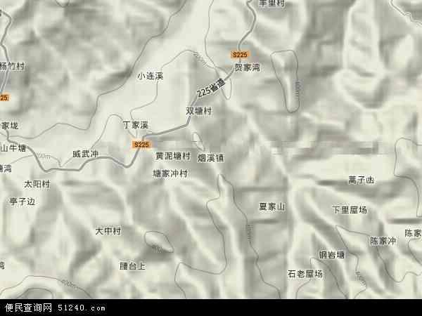 中国湖南省益阳市安化县烟溪镇地图(卫星地图)图片