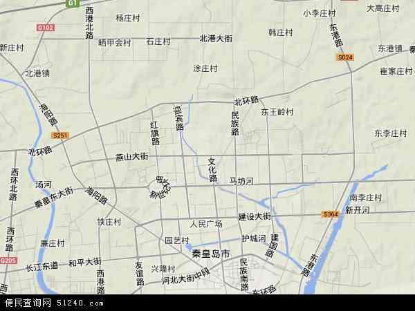 中国河北省秦皇岛市海港区燕山大街地图(卫星地图)