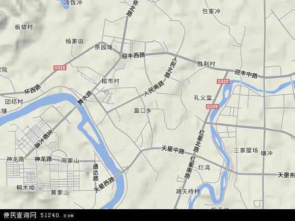 中国湖南省怀化市鹤城区盈口乡地图(卫星地图)