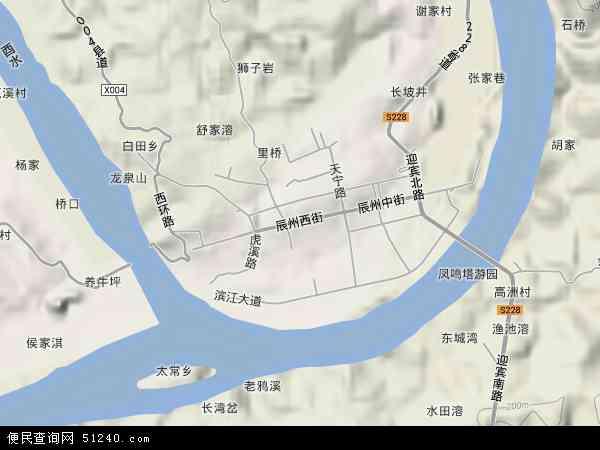 中国湖南省怀化市沅陵县沅陵镇地图(卫星地图)