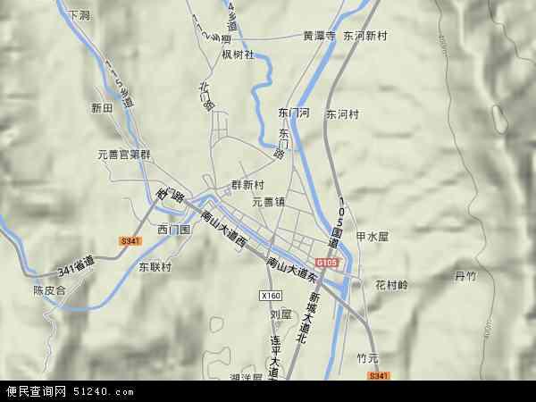 中国广东省河源市连平县元善镇地图(卫星地图)