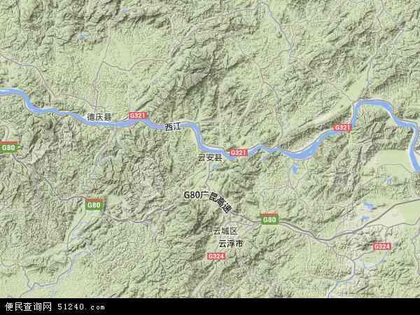 中国广东省云浮市云安县地图(卫星地图)