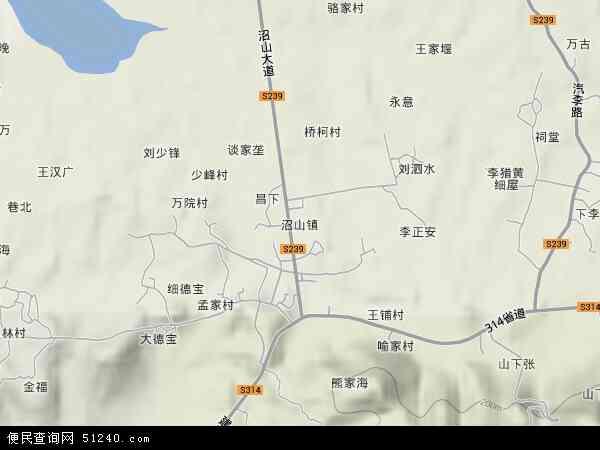 中国湖北省鄂州市梁子湖区沼山镇地图(卫星地图)