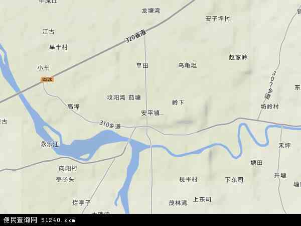 中国湖南省郴州市安仁县安平镇地图(卫星地图)图片