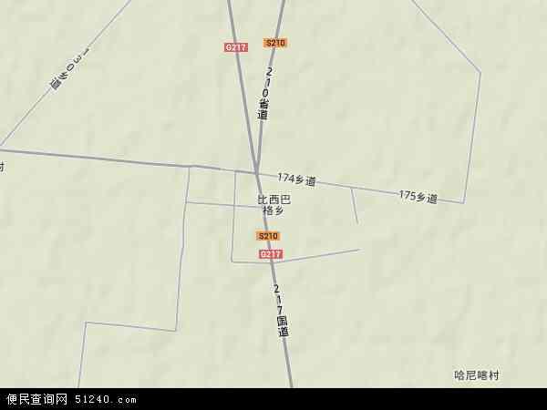 中国新疆维吾尔自治区阿克苏地区库车县比西巴格乡地图(卫星地图)