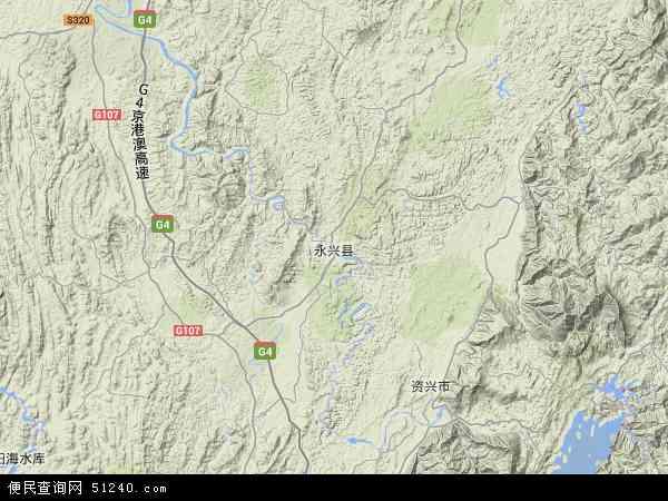 中国湖南省郴州市永兴县便江镇地图(卫星地图)