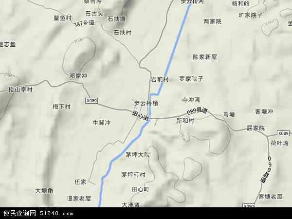中国湖南省衡阳市祁东县步云桥镇地图(卫星地图)