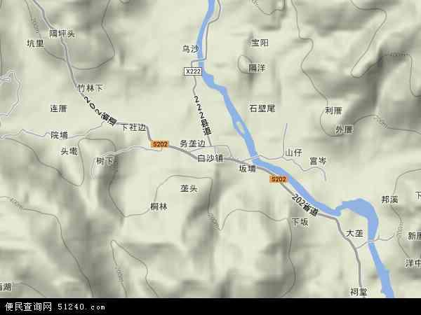 中国福建省莆田市涵江区白沙镇地图(卫星地图)