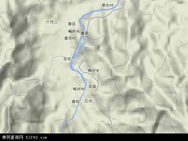 中国海南省省直辖县级行政区划五指山市畅好乡地图(卫星地图)