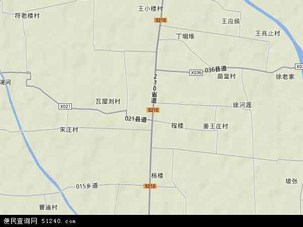 中国河南省商丘市宁陵县程楼乡地图(卫星地图)
