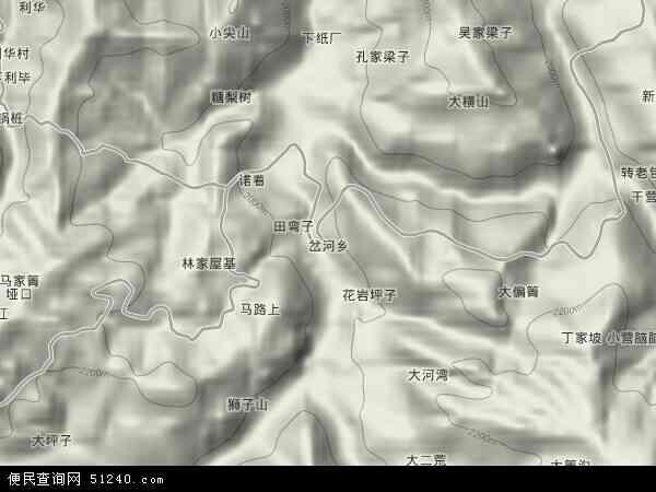 岔河乡2018年卫星地图 中国贵州省毕节市威宁彝族回族苗族自治县岔