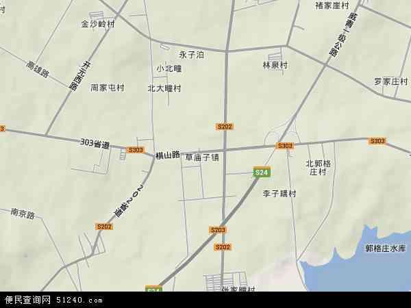 草庙子镇2017年卫星地图 中国山东省威海市环翠区草庙子镇地图