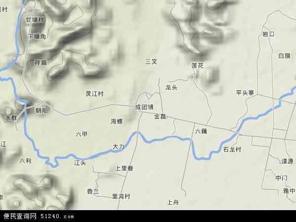 中国广西壮族自治区柳州市柳江县成团镇地图(卫星