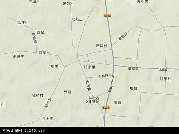 中国江苏省扬州市仪征市陈集镇地图(卫星地图)