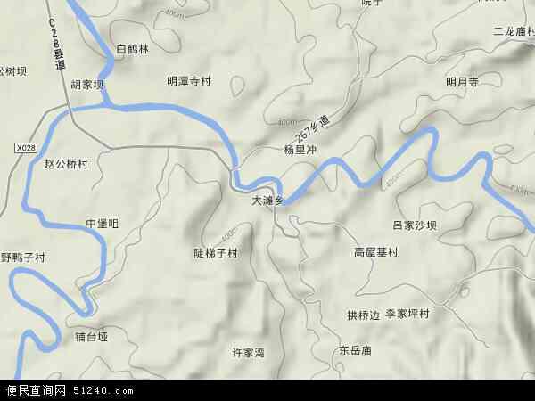 大滩乡2017年卫星地图 中国四川省达州市达川区大滩乡地图