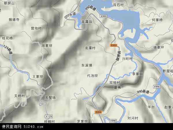 中国重庆市忠县东溪镇地图(卫星地图)