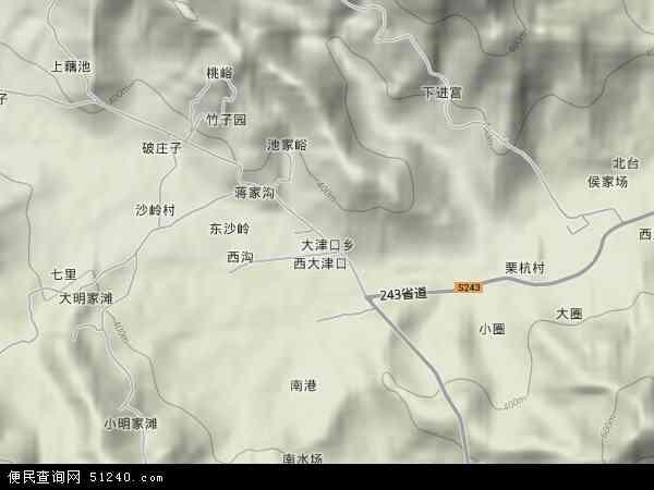 中国山东省泰安市泰山区大津口乡地图(卫星地图)