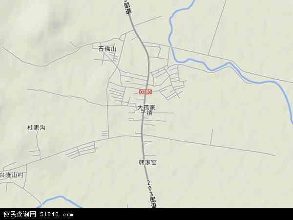中国辽宁省沈阳市法库县大孤家子镇地图(卫星地图)图片