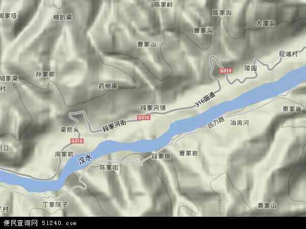 中国陕西省安康市旬阳县段家河镇地图(卫星地图)