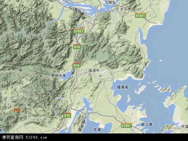 中国福建省福州市福清市东阁华侨地图(卫星地图)