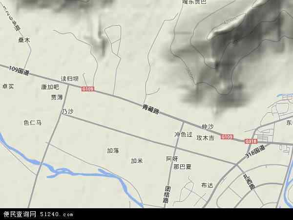 中国西藏自治区拉萨市堆龙德庆县东嘎镇地图(卫星地图)