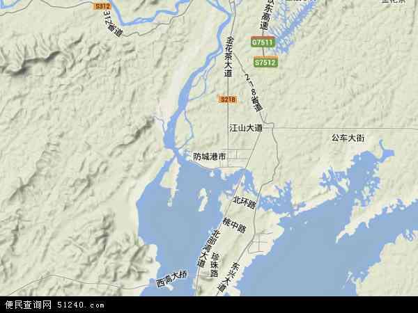 防城港市地图 - 防城港市卫星地图图片