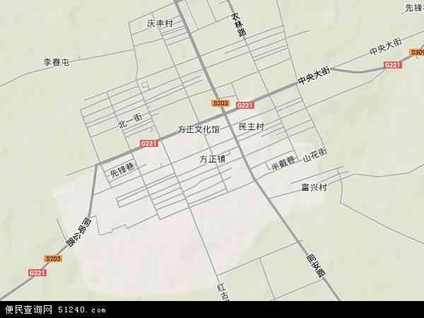 中国黑龙江省哈尔滨市方正县方正镇地图(卫星地图)图片