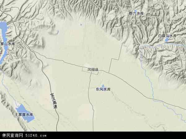 中国陕西省宝鸡市凤翔县地图(卫星地图)