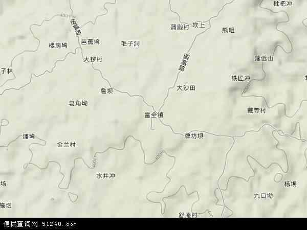 中国四川省自贡市沿滩区富全镇地图(卫星地图)