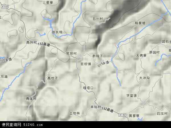 中国重庆市忠县官坝镇地图(卫星地图)