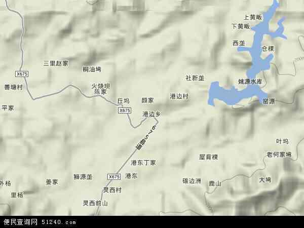 中国江西省上饶市横峰县港边乡地图(卫星地图)