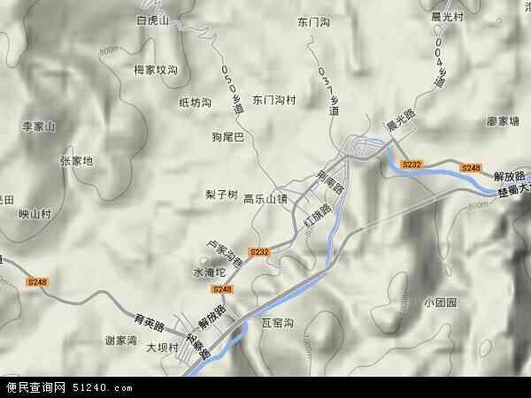 中国湖北省恩施土家族苗族自治州咸丰县高乐山镇地图(卫星地图)