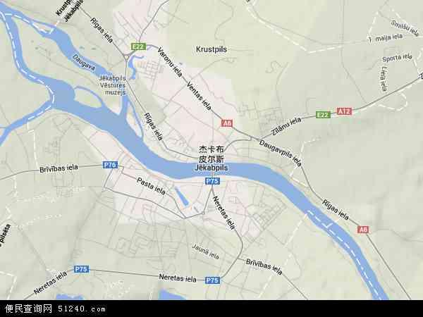 杰卡布皮尔斯高清卫星航拍地图