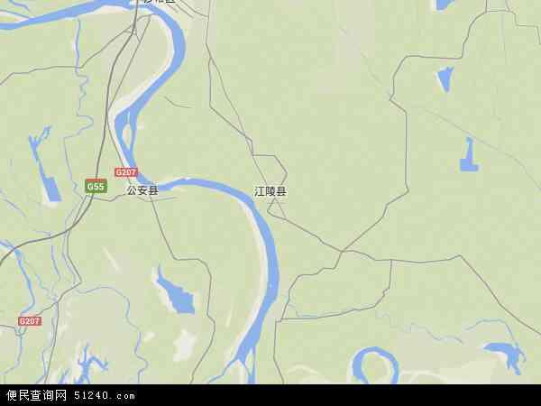 中国湖北省荆州市江陵县地图(卫星地图)